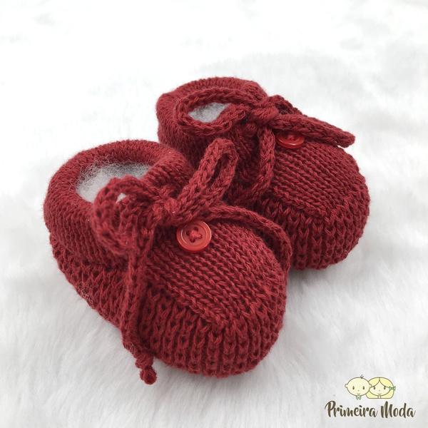 Sapatinho De Tricot Laço Vermelho