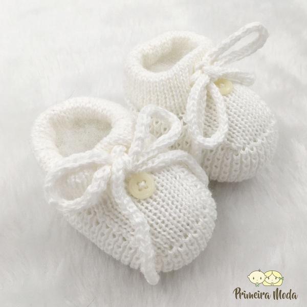 Sapatinho De Tricot Laço Branco