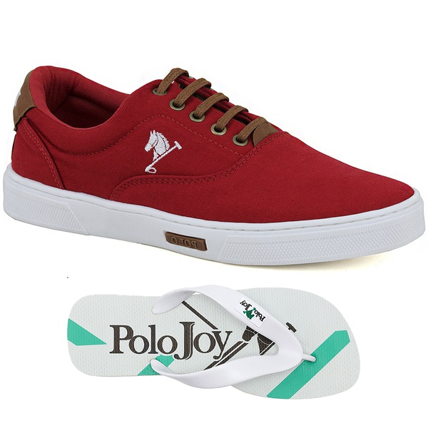 Kit 1 Tênis Casual e 1 Chinelo Polo Joy Vermelho