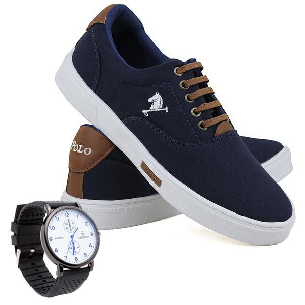 Kit Sapatênis Lona Com Relógio Casual Azul