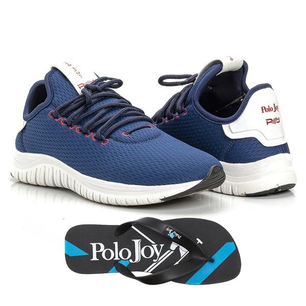 Kit Tênis Masculino Polo Joy Sport Com Chinelo Azul Escuro