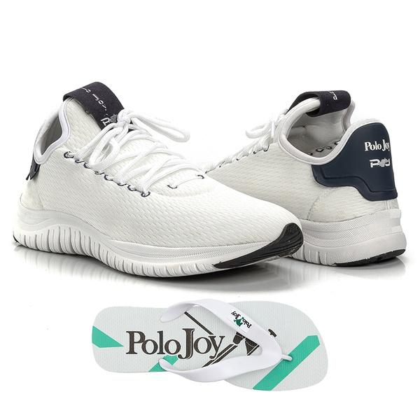 Kit Tênis Masculino Polo Joy Sport Com Chinelo Branco