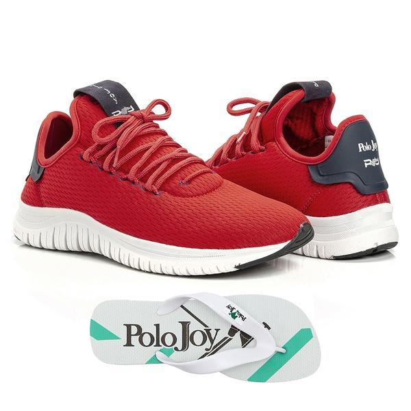 Kit Tênis Masculino Polo Joy Sport Com Chinelo Vermelho