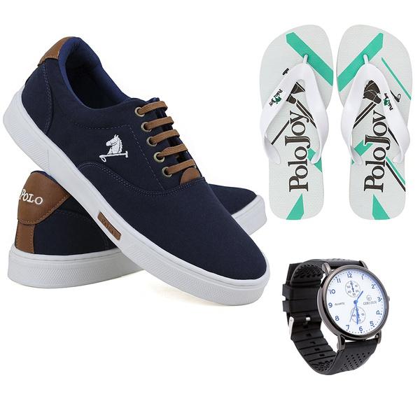 Kit Sapatenis Casual C/ Chinelo e relógio Polo Joy Azul