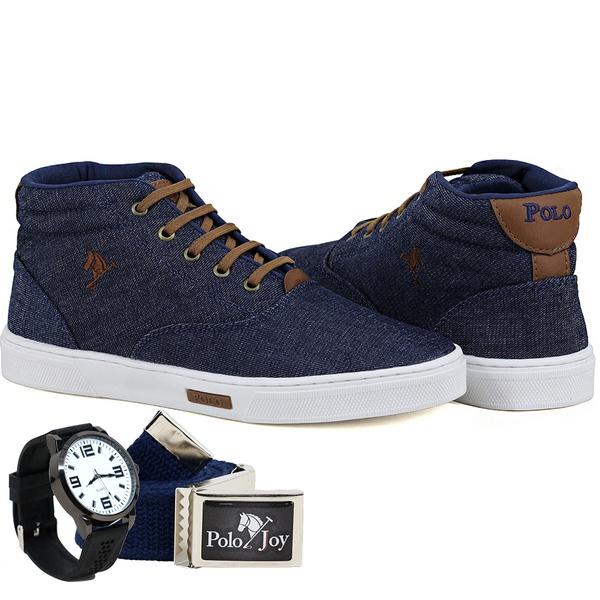 Kit Bota Sapatênis Lona Com Relógio e Cinto Masculino Casual - Jeans