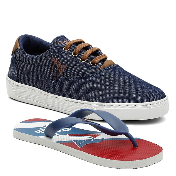 Kit Sapatênis Infantil Polo North Com Chinelo Jeans