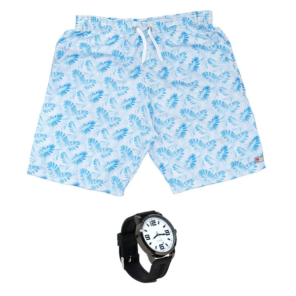 Kit Shorts Praia Estampado Polo North Branco C/ Relógio