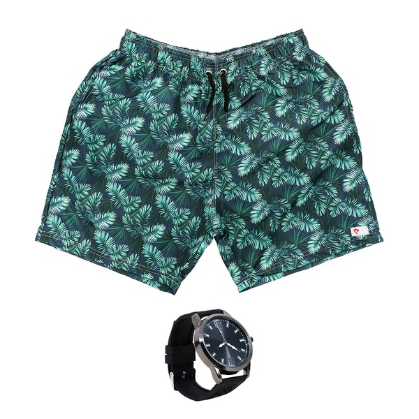 Kit Shorts Praia Estampado Polo North Verde C/ Relógio