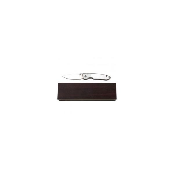 Canivete Maxam Inox - Liso + Caixa de madeira - SKMXDBX3