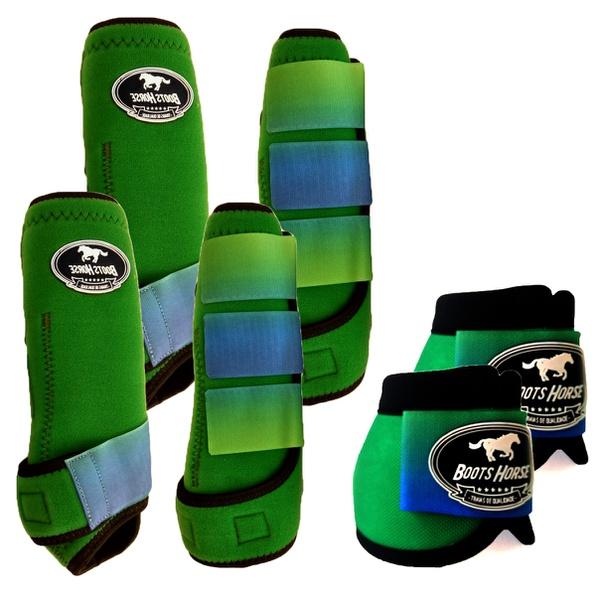 Kit Completo Boots Horse Color Cloche e Boleteira Dianteira e Traseira - verde / velcro estampa 17