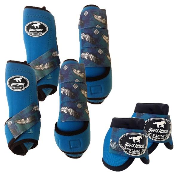 Kit Completo Boots Horse Color Cloche e Boleteira Dianteira e Traseira - Azul / velcro estampa 13