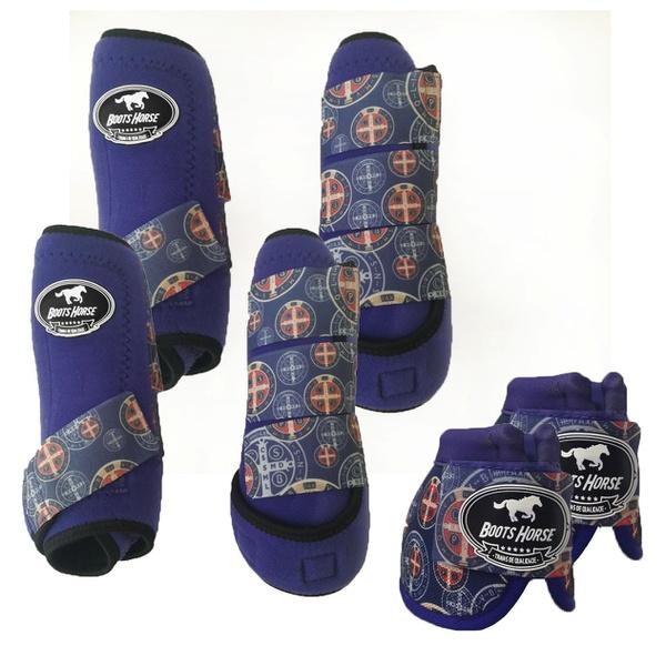 Kit Completo Boots Horse Color Cloche e Boleteira Dianteira e Traseira - roxo / velcro estampa 10