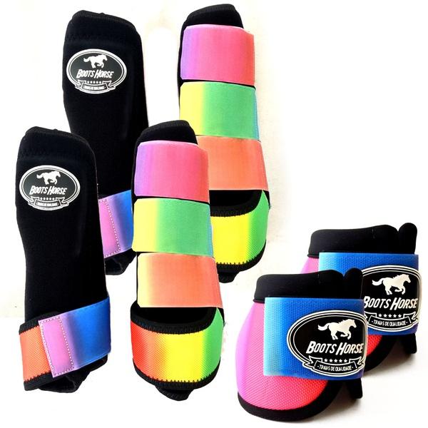 Kit Completo Boots Horse Color Cloche e Boleteira Dianteira e Traseira - Preto / velcro estampado 22