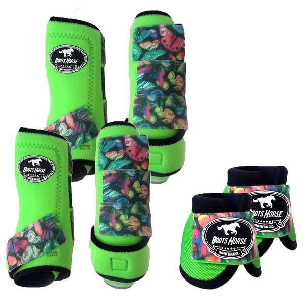 Kit Completo Boots Horse Color Cloche e Boleteira e Traseira - Verde / velcro Estampado 21