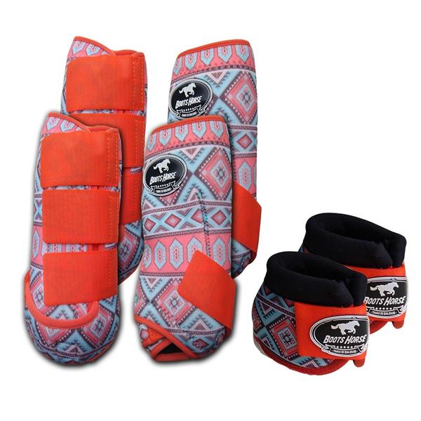 Kit Completo Boots Horse Color Cloche e Boleteira Dianteira e Traseira - Estampa A20 / Velcro Laranja