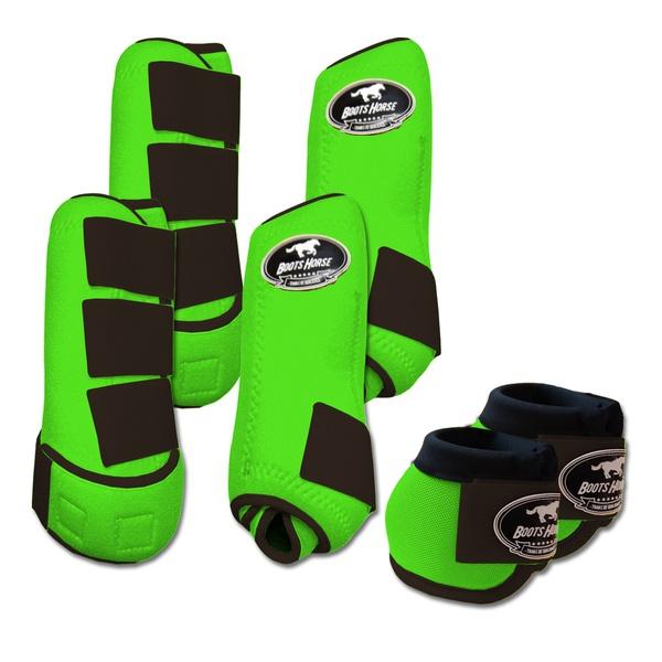 Kit Completo Boots Horse Color Cloche e Boleteira Dianteira e Traseira - Verde limão / Marrom