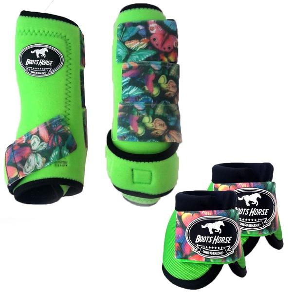 Kit Simples Color Boots Horse Cloche e Boleteira- Verde limao / velcro estampa 21 (9)