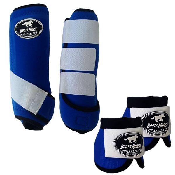 Kit Simples Color Boots Horse Cloche e Boleteira- Azul Royal / Velcro Branco (890)