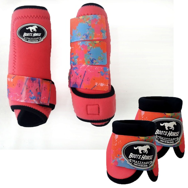 Kit Simples Color Boots Horse Cloche e Boleteira - Rosa / velcro estampa 11 (9)