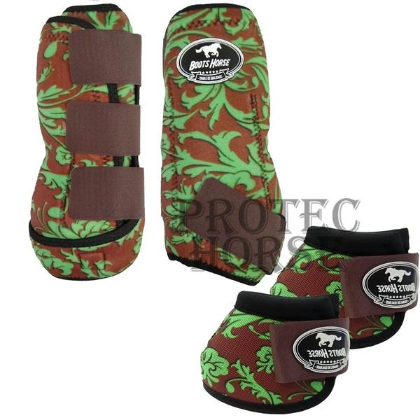 Kit Simples Color Boots Horse Cloche e Boleteira - Estampa 32 verde / velcro marrom (1298)