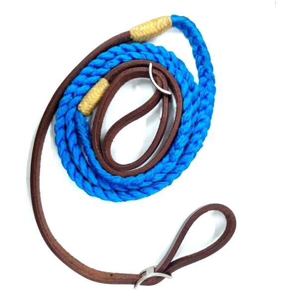 Redea de Couro com Nylon - Azul
