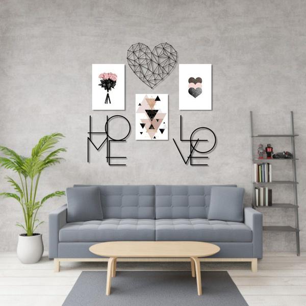 Kit 3 Quadros Beauty + Esculturas de Parede Decoração+ Presente (Palavra de Parede Gratidão)
