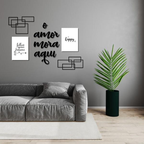 Kit Decoração Amor Mora + Presente (Palavra de Parede Gratidão)
