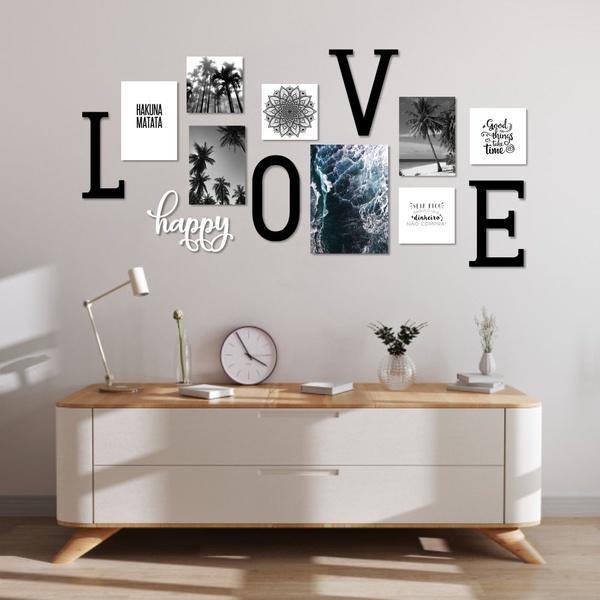 Kit Decoração Love + Presente (Palavra de Parede Gratidão)