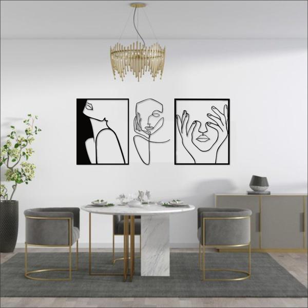Kit 3 Esculturas de Parede | Decoração Finesse + Presente (Palavra de Parede Gratidão)