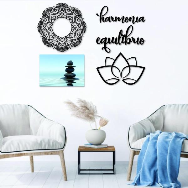 Kit Decoração Equilíbrio + Presente (Palavra de Parede Gratidão)
