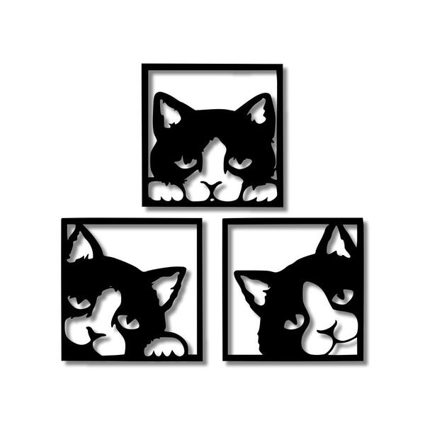 Kit Esculturas de Parede Gatinhos