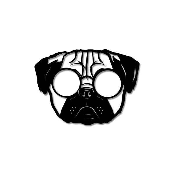 Escultura de Parede Pug de Óculos