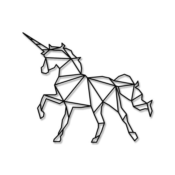 Escultura de Parede Unicórnio Geométrico