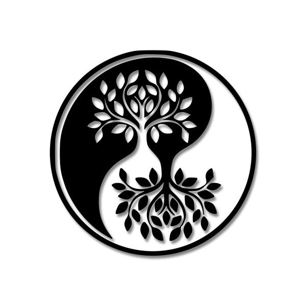 Escultura de Parede Yin Yang Árvores