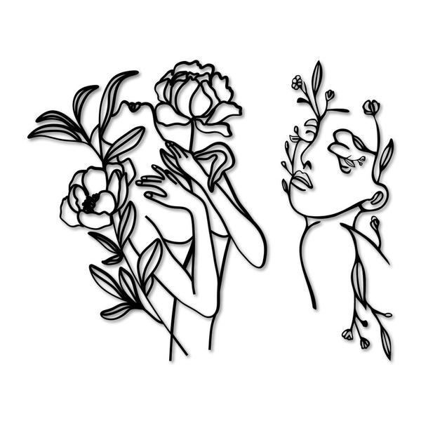 Kit Esculturas de Parede Mulher Flores