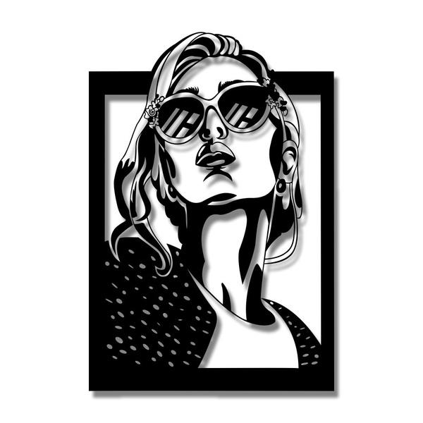 Escultura de Parede Mulher Óculos