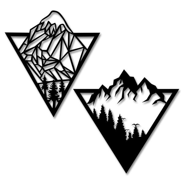 Kit Esculturas de Parede Montanhas