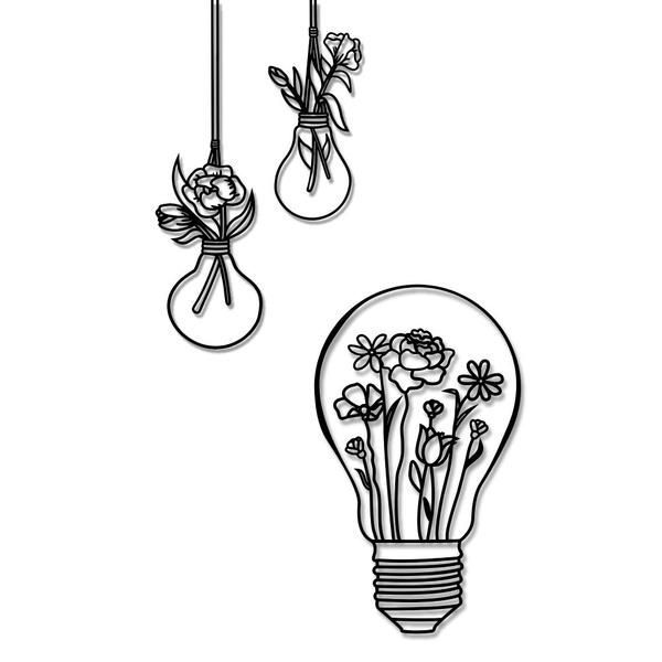 Kit Esculturas de Parede Lâmpadas Flores