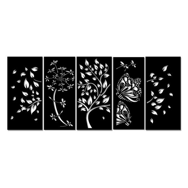 Kit Esculturas de Parede Árvore Flor
