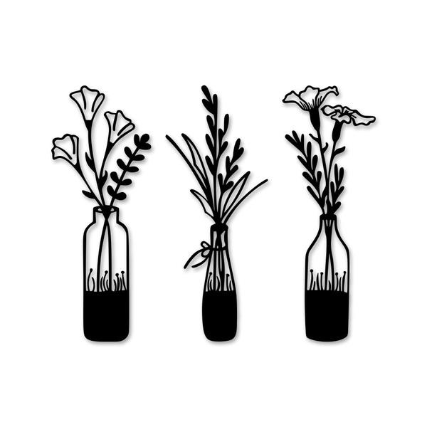 Kit Esculturas de Parede Vazinhos de Flores
