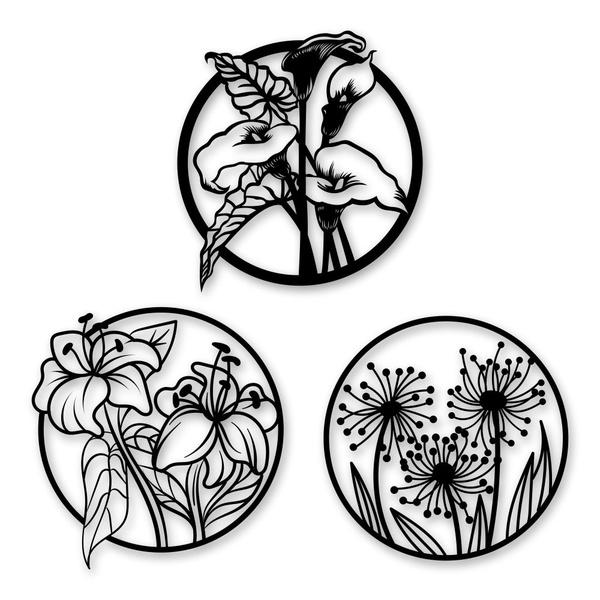 Kit Esculturas de Parede Quadro Redondo Flores