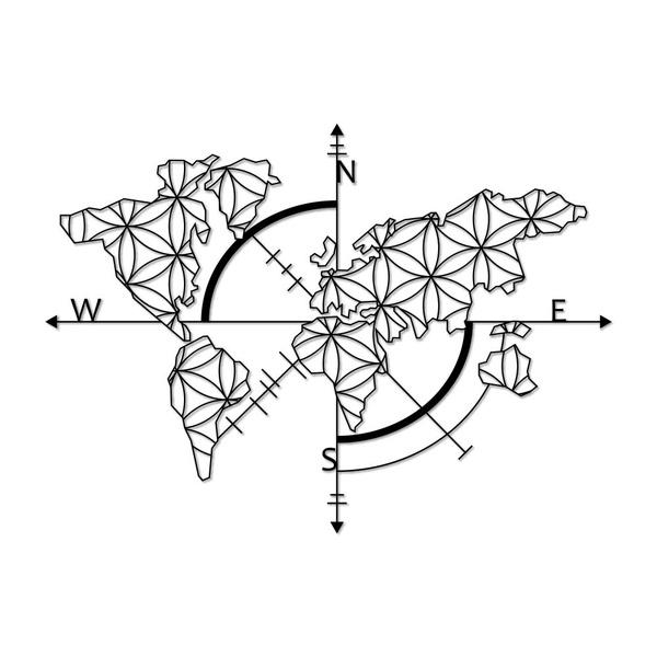 Escultura de Parede Mapa Ornamental