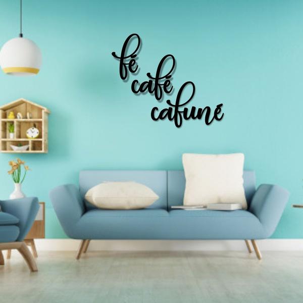 Kit Palavras de Parede Fé Café Cafuné