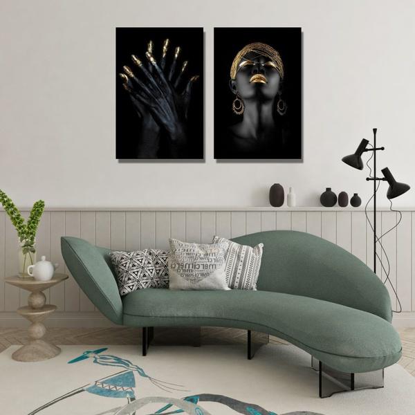 Kit Quadros Decorativos Mulher Dourado
