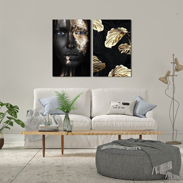 Kit 2 Placas Decorativas Mulher Folhas Ouro