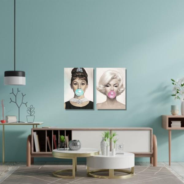 Kit 2 Placas Decorativas Audrey e Marilyn