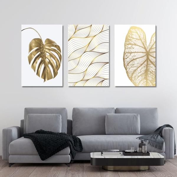 Kit Quadros Decorativos Folhas Douradas