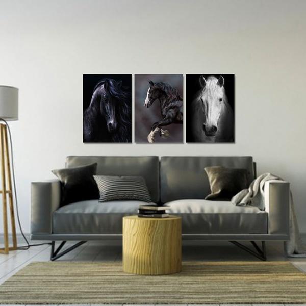 Kit 3 Placas Decorativas Cavalos