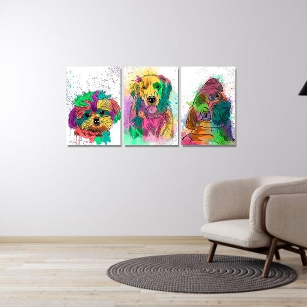 Kit Quadros Decorativos Cachorros