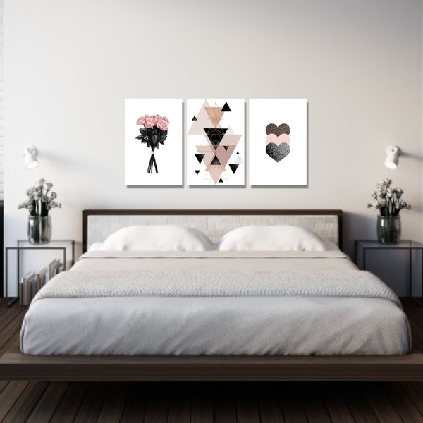 Kit Quadros Decorativos Flor Coração Geométrico Rosa